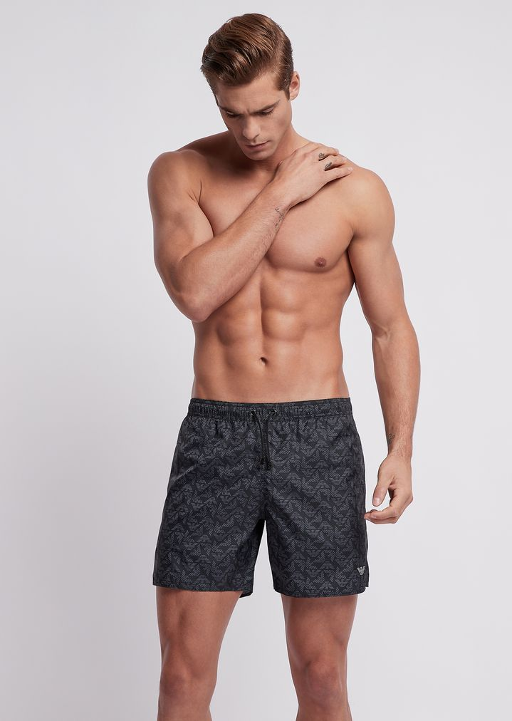 3cb39ef426 Swimming trunks in tech fabric with monogram pattern | Man | Emporio Armani