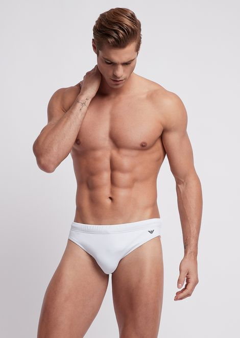 Single-colour swimming briefs with logo at the side