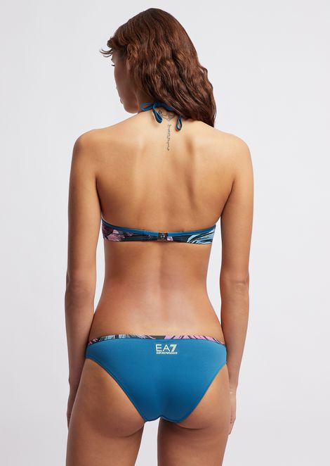 Bikini swimsuit with tropical flower pattern