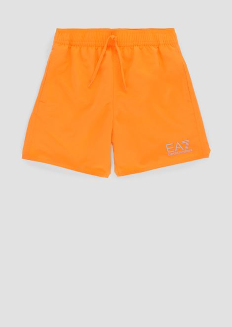 Boys' swimming shorts with contrasting logo