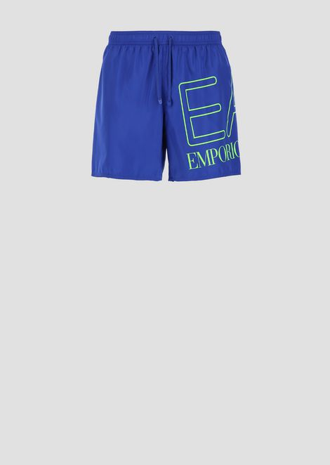 Two-tone swimming shorts with maxi logo