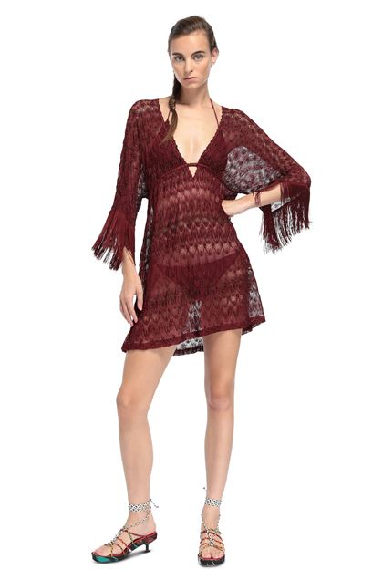 MISSONI MARE Short Beach Dress Maroon Woman - Back