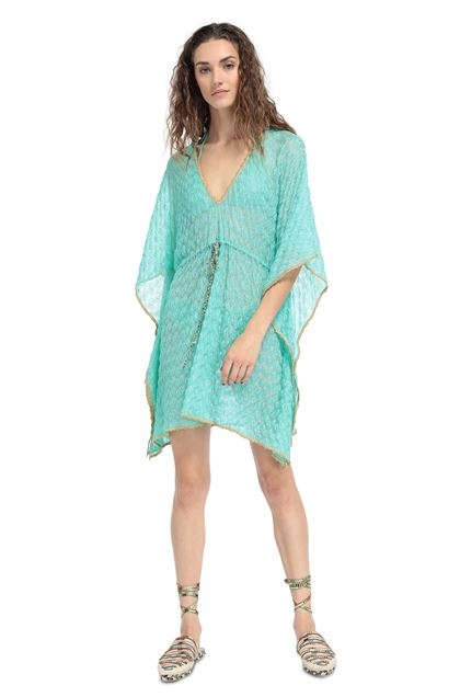 MISSONI MARE Short Beach Dress Light green Woman - Back