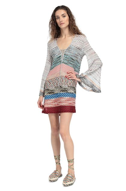 MISSONI MARE Short Beach Dress Light grey Woman - Back