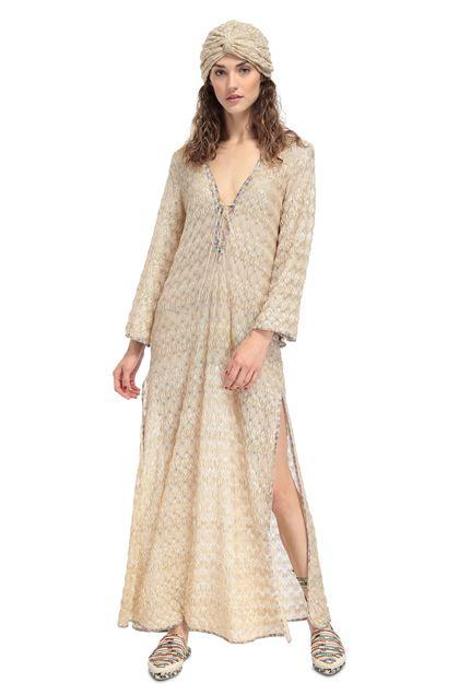 MISSONI MARE Длинное пляжное платье Песочный Для Женщин - Обратная сторона