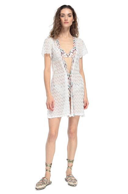 MISSONI MARE Short Beach Dress White Woman - Back