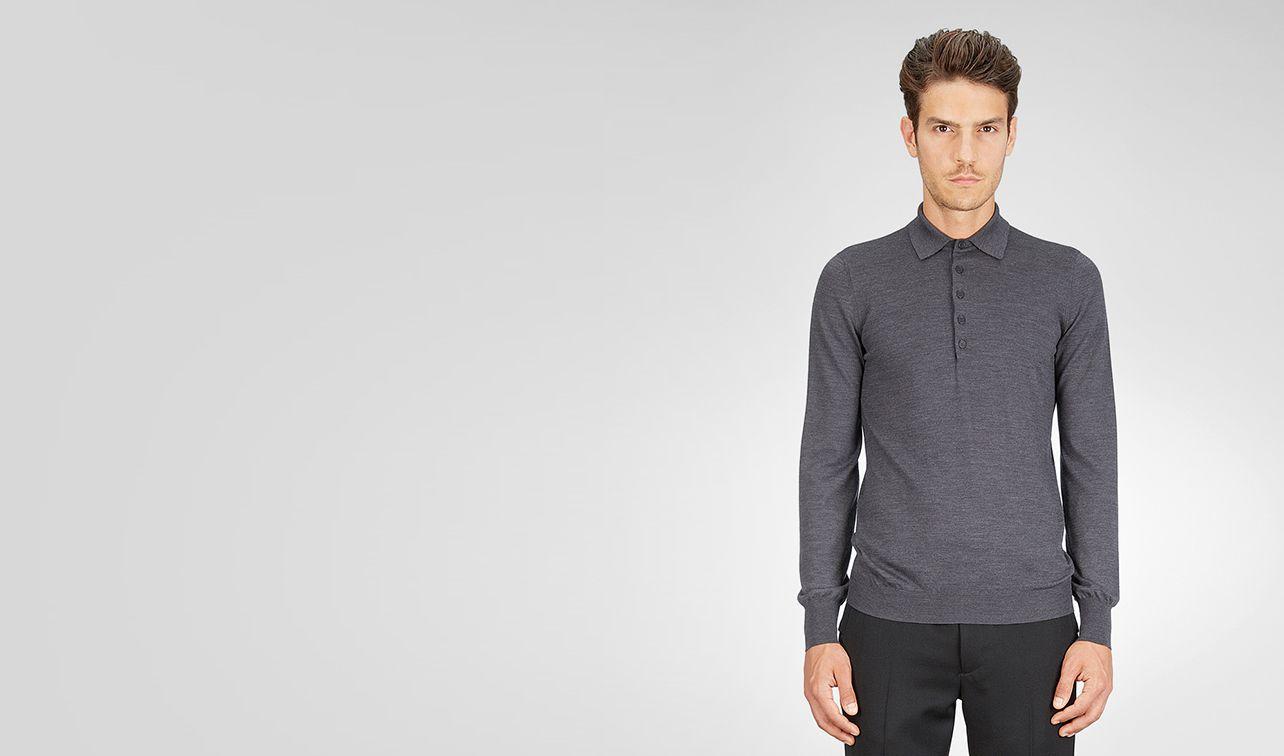 BOTTEGA VENETA Knitwear U Anthracite Melange Merinos Wool Sweater pl