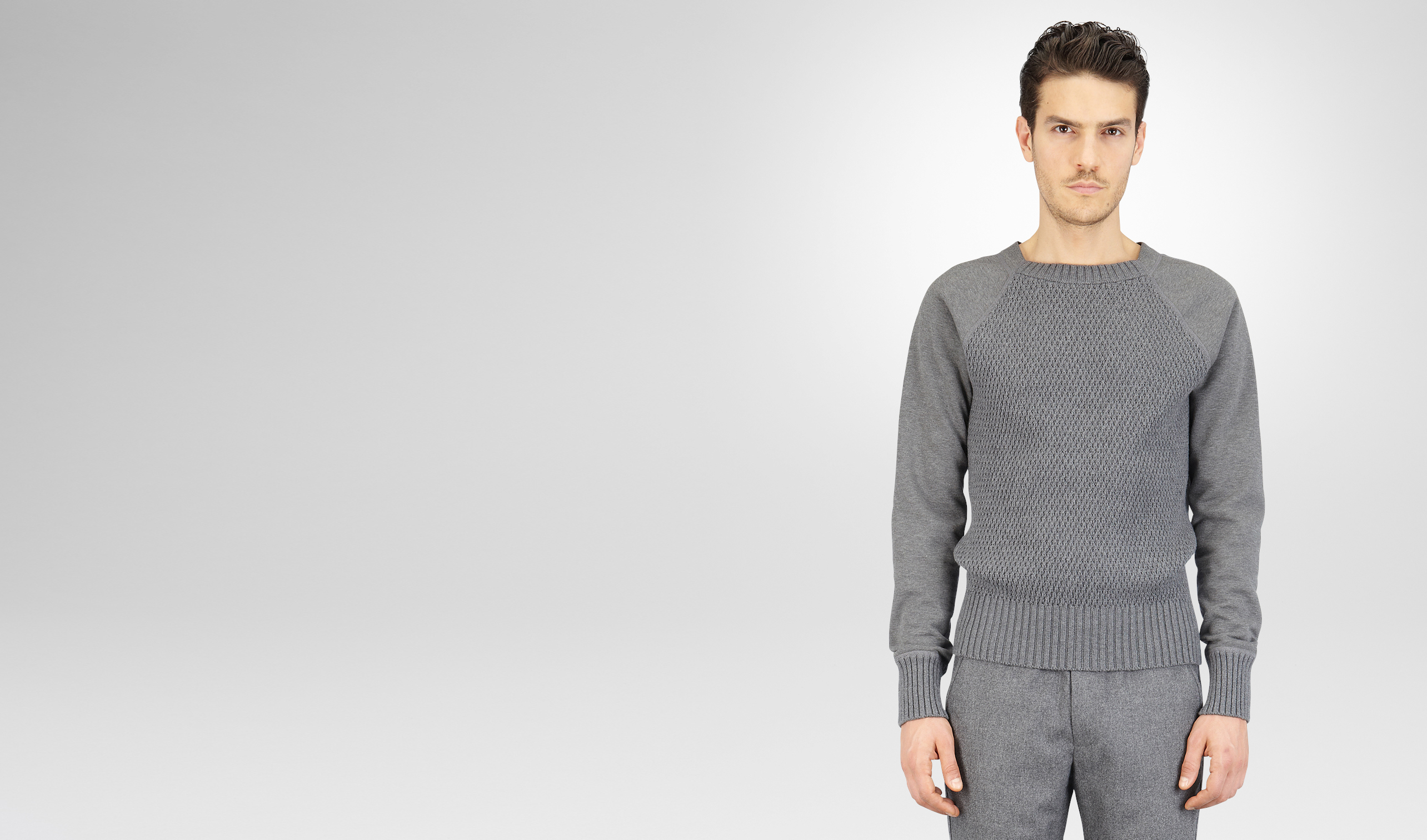 BOTTEGA VENETA Knitwear U New Light Grey Melange Organic Cotton Wool Jersey Sweater pl