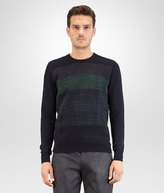SWEATER IN DARK NAVY CASHMERE, MULTICOLOR NEEDLE PUNCH DETAILS
