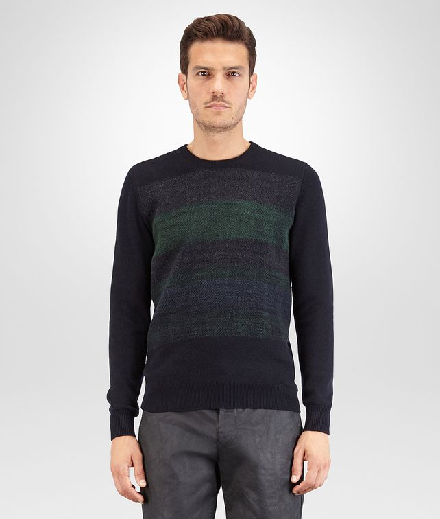 BOTTEGA VENETA PULLOVER IN CASHMERE DARK NAVY, DETTAGLIO NEEDLE PUNCH MULTICOLOR Maglieria U fp