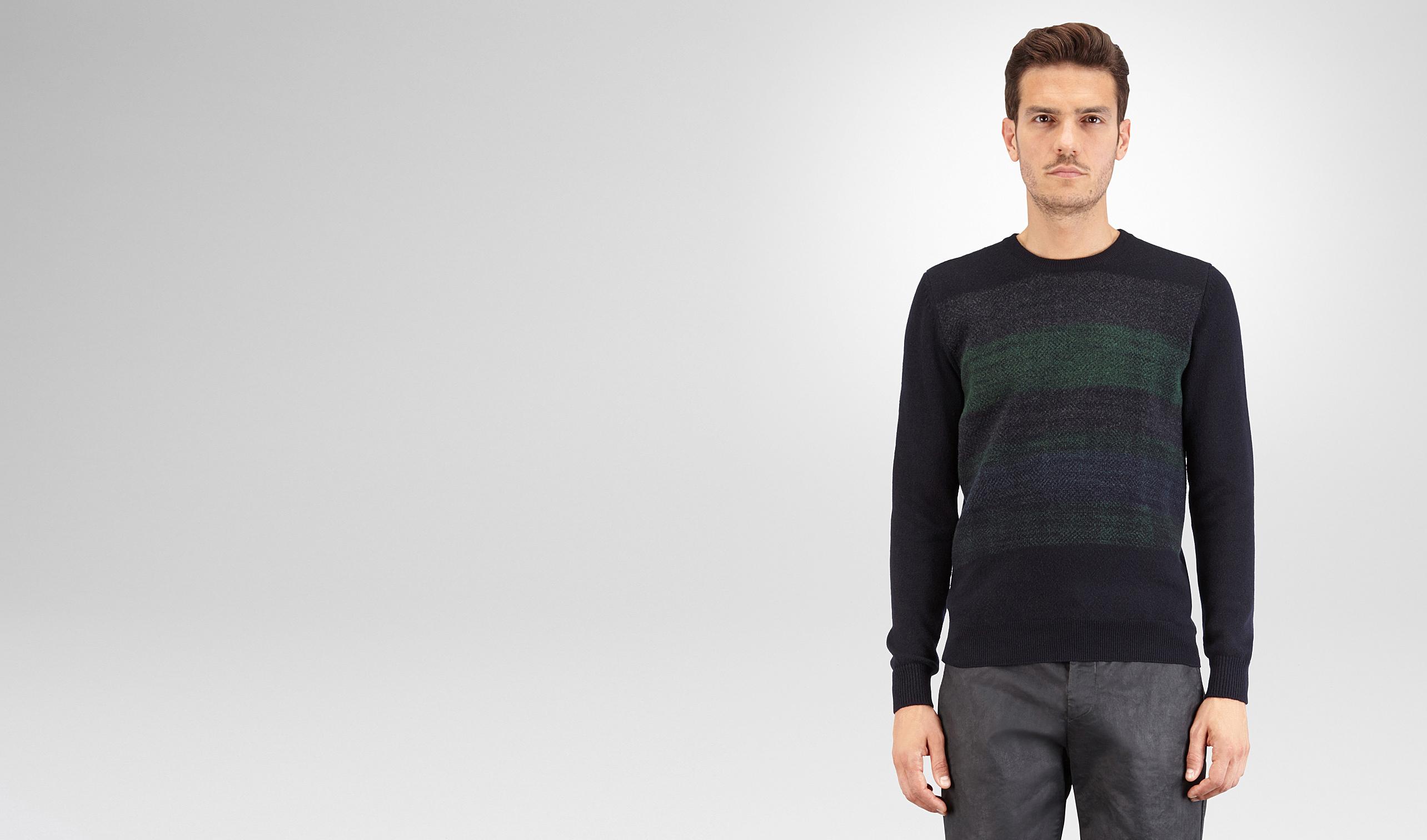 BOTTEGA VENETA Knitwear U SWEATER IN DARK NAVY CASHMERE, MULTICOLOR NEEDLE PUNCH DETAILS pl