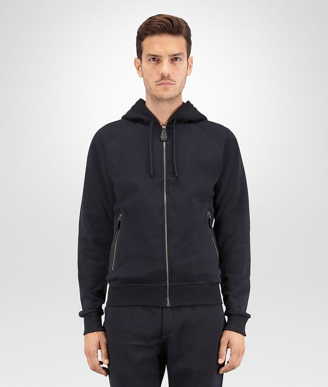 BOTTEGA VENETA SWEATSHIRT IN DARK NAVY COTTON WOOL JERSEY, NERO LEATHER DETAILS Knitwear Man fp