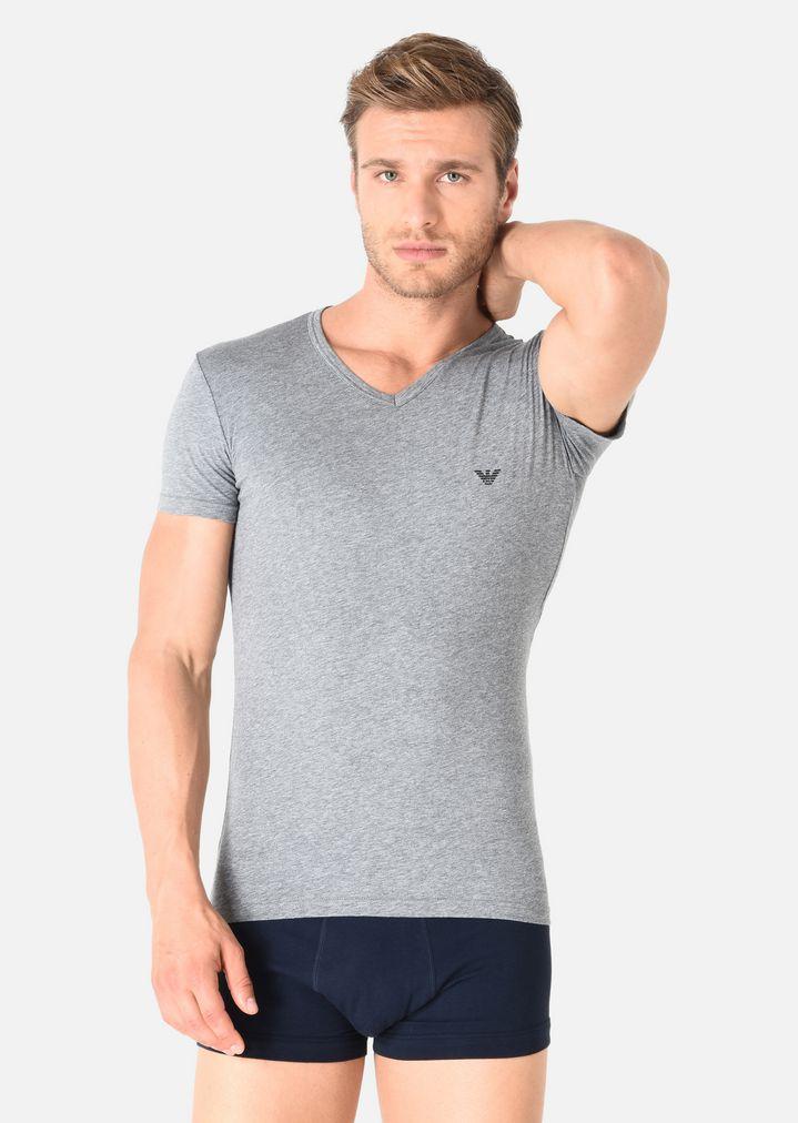 EMPORIO ARMANI V-NECK T-SHIRT IN STRETCH COTTON Lounge T-Shirt Man ...