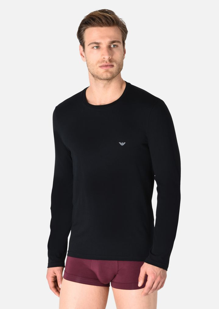 LONG-SLEEVED T-SHIRT IN STRETCH COTTON  c1859ea5aabc