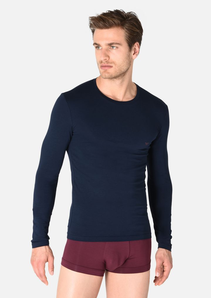 027f54c7 LONG-SLEEVED T-SHIRT IN STRETCH COTTON | Man | Emporio Armani
