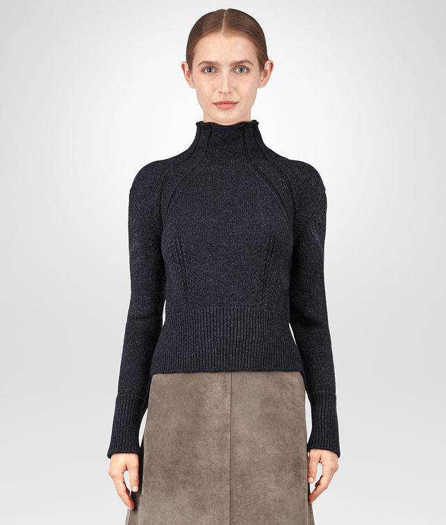 BOTTEGA VENETA DARK GREY MERINO SWEATER Knitwear or Top or Shirt Woman fp