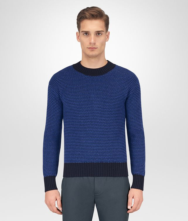 BOTTEGA VENETA DARK NAVY WOOL CASHMERE SWEATER Knitwear Man fp