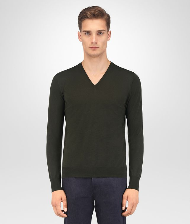 BOTTEGA VENETA DARK MOSS MERINO SWEATER Knitwear Man fp