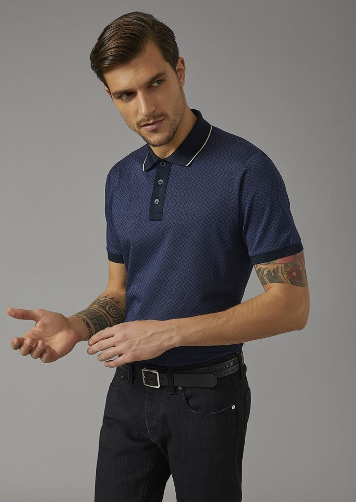 54385b5a41 PATTERNED COTTON POLO SHIRT | Man | Giorgio Armani