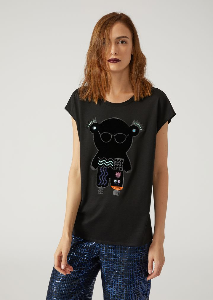 c367fe604f T-SHIRT WITH MANGA BEAR PATCH | Woman | Emporio Armani