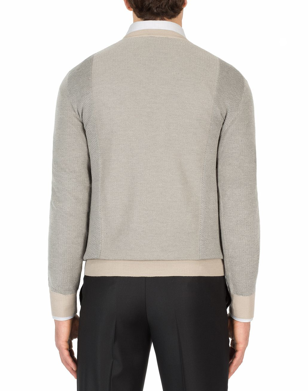 BRIONI Sand and Gray V-Neck Micro Jacquard Sweater Knitwear Man d