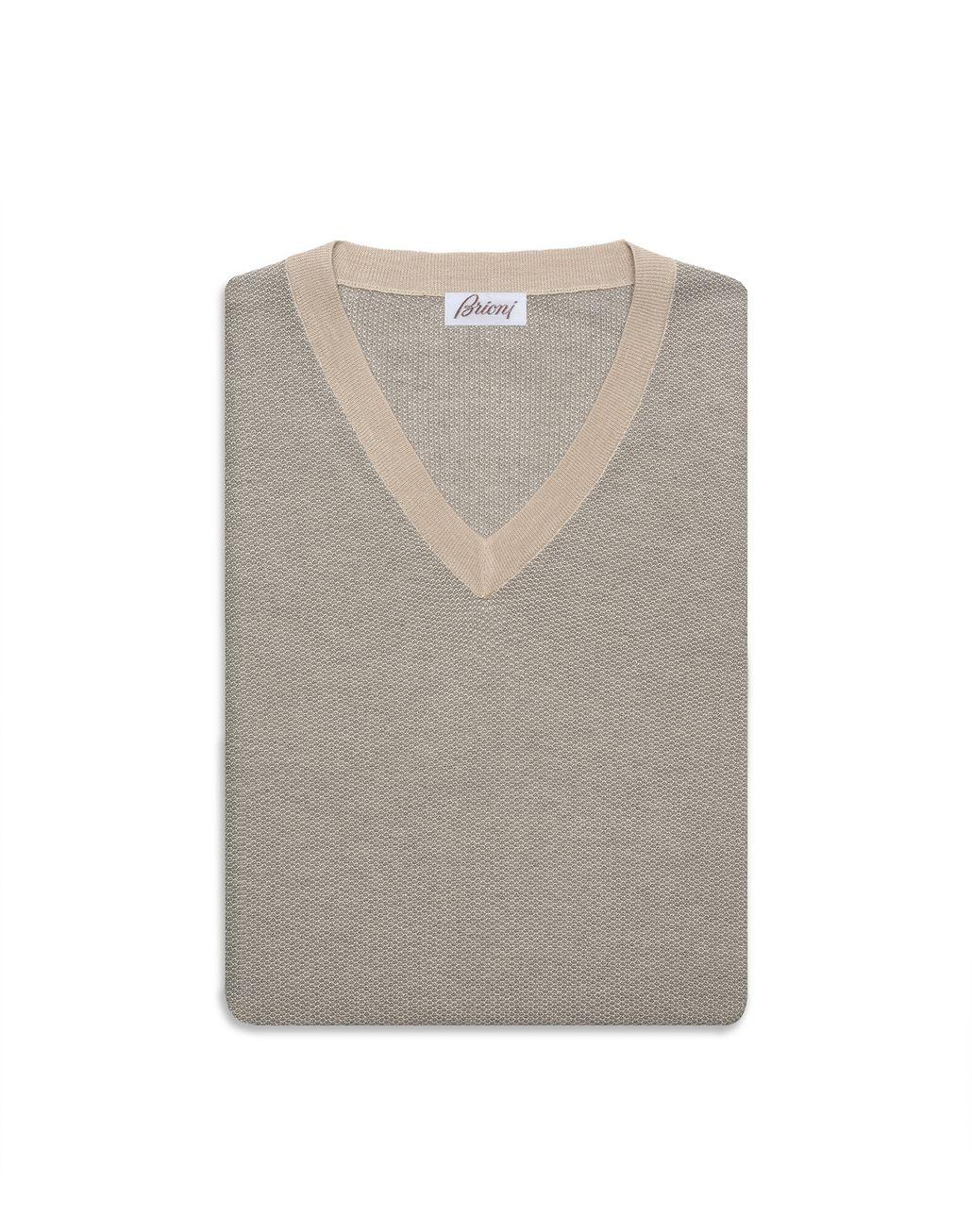 BRIONI Sand and Grey V-Neck Micro Jacquard Sweater Knitwear Man e