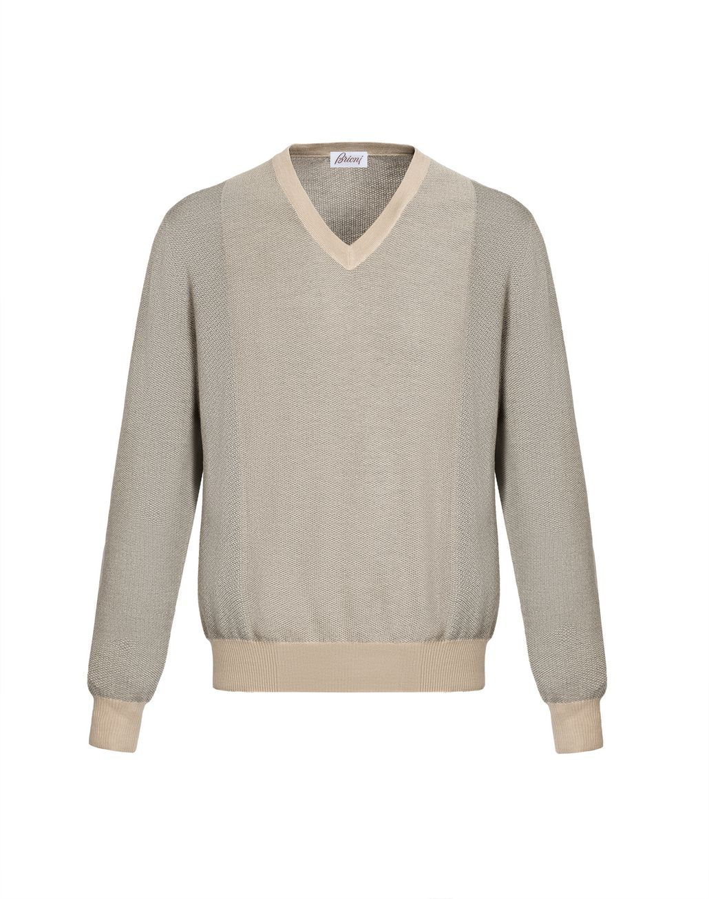 BRIONI Sand and Gray V-Neck Micro Jacquard Sweater Knitwear Man f