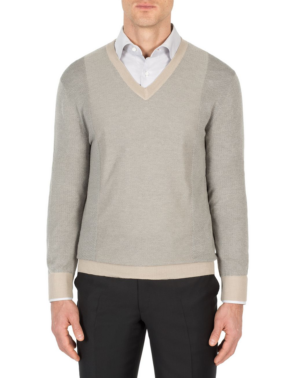 BRIONI Sand and Gray V-Neck Micro Jacquard Sweater Knitwear Man r