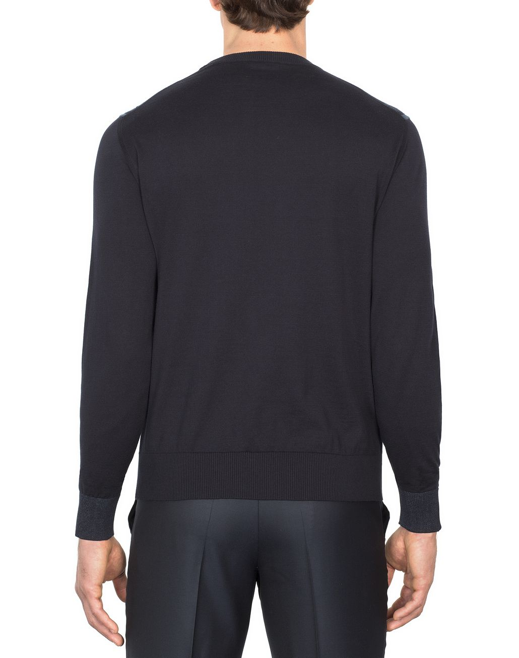 BRIONI Navy-Blue Cotton and Silk Striped Sweater with Two-Tone Trim Knitwear Man d