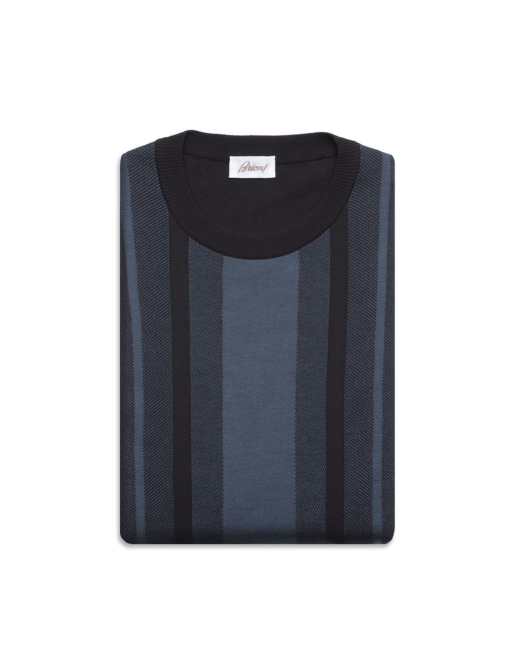 BRIONI Navy Blue Cotton and Silk Striped Sweater with Bicolour Trims Knitwear U e