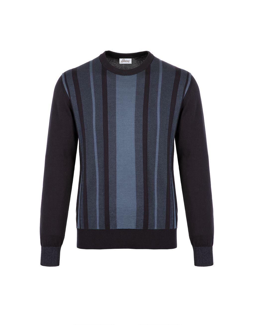 BRIONI Navy Blue Cotton and Silk Striped Sweater with Bicolour Trims Knitwear Man f
