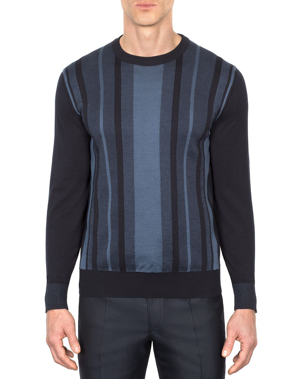 BRIONI Navy Blue Cotton and Silk Striped Sweater with Bicolour Trims Knitwear U r