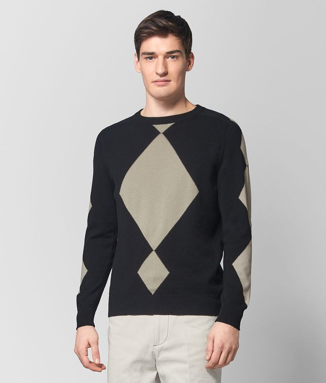 BOTTEGA VENETA NERO/CEMENT CASHMERE SWEATER Knitwear Man fp