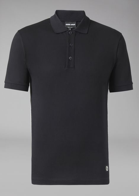 Polo shirt in stretch cotton micro pique