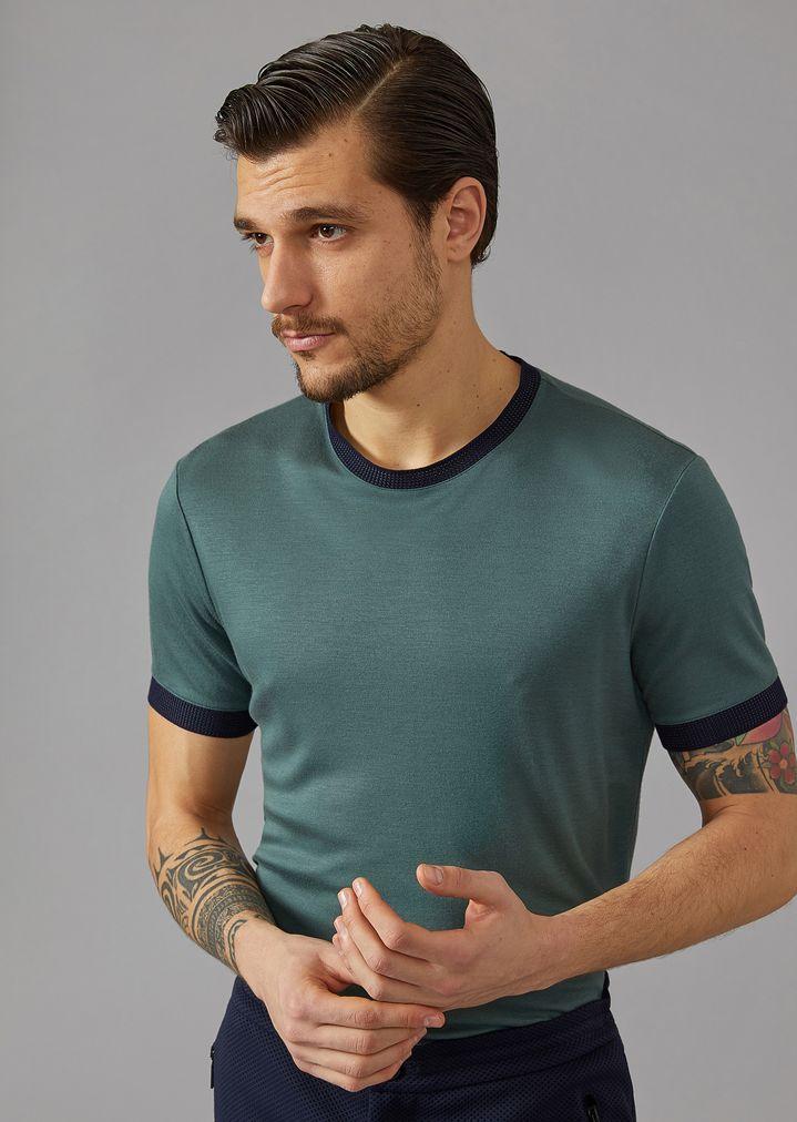 Jersey T Seta Di Viscosa Armani E Uomo Giorgio Shirt In rwxtpwY