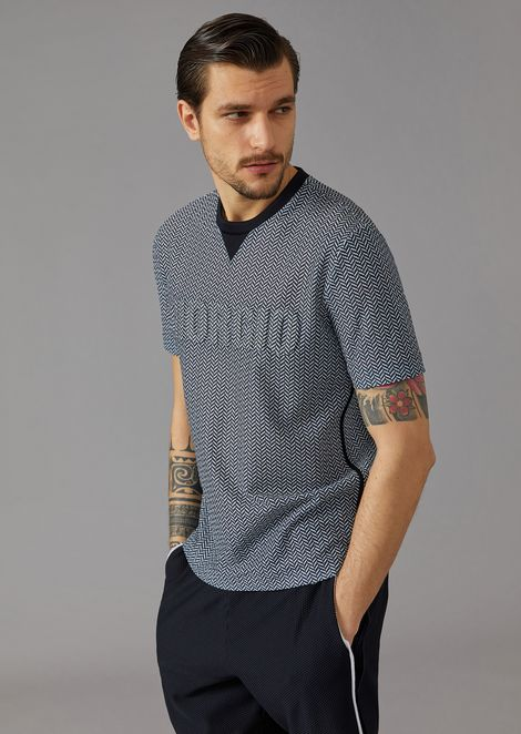 T-shirt in chevron pattern jersey with Giorgio print