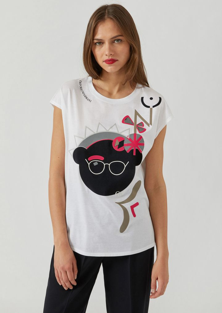 b60fe4d8f3e0 Manga Bear T-shirt with abstract print | Woman | Emporio Armani
