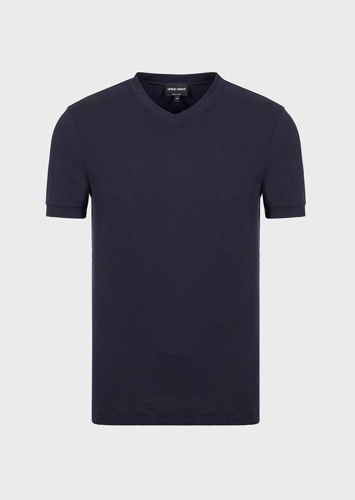 V Stretch Giorgio Armani Shirt Jersey T Man Neck rA7wqCr