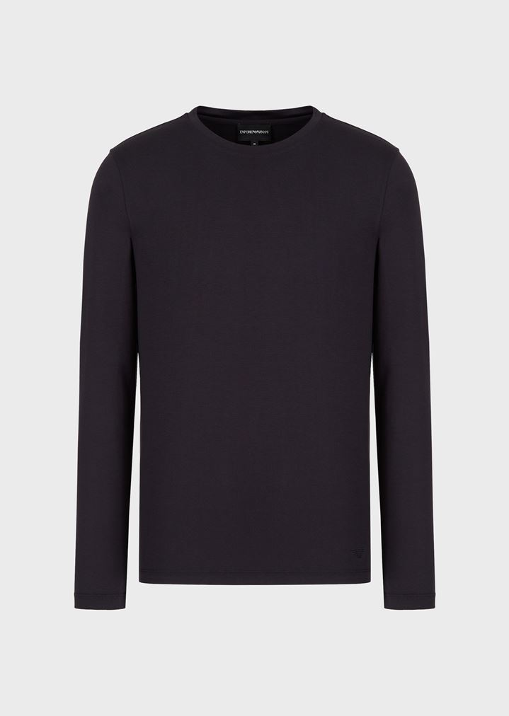 532e5f5bdf1 ... EMPORIO ARMANI Long Sleeved T-Shirt in Silk and Cotton Jersey T-Shirt  Man ...