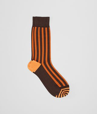 COFFEE/ORANGE COTTON SOCKS