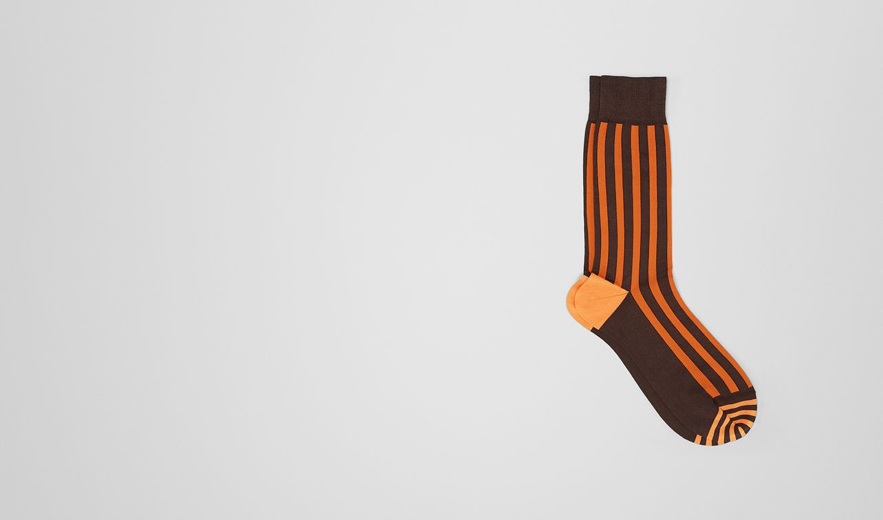 coffee/orange cotton socks landing