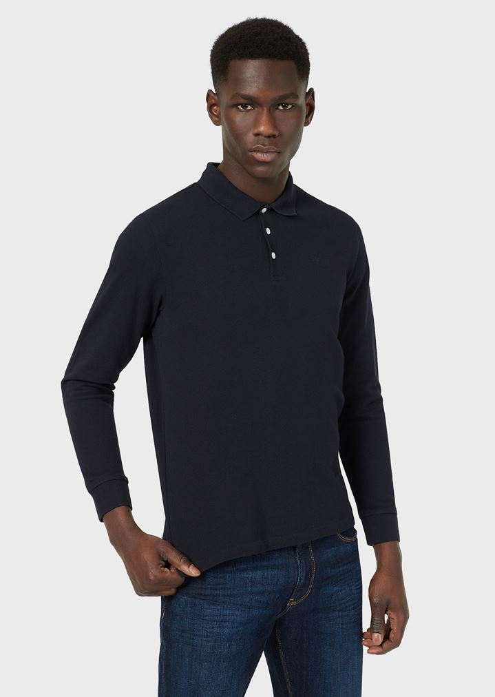 7a223120 LONG-SLEEVED POLO SHIRT IN COTTON PIQUE | Man | Emporio Armani
