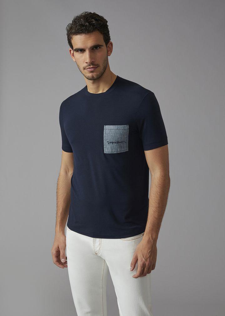 T-shirt in viscosa con taschino  b99523e1124
