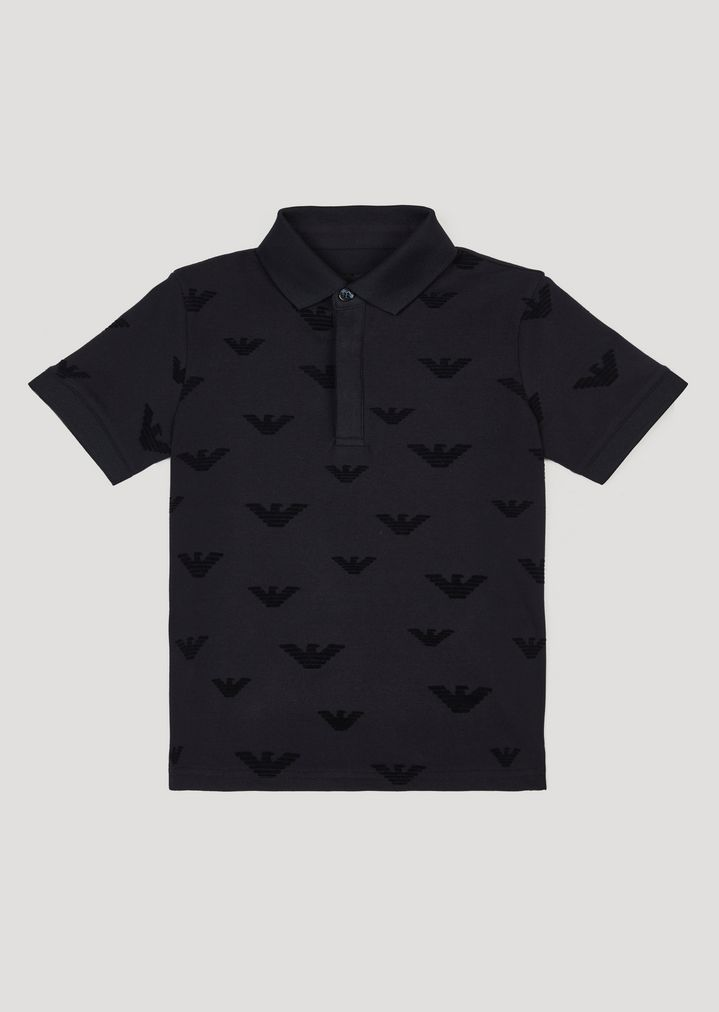 699f24dfb Polo shirt in piqué with flocked eagle print