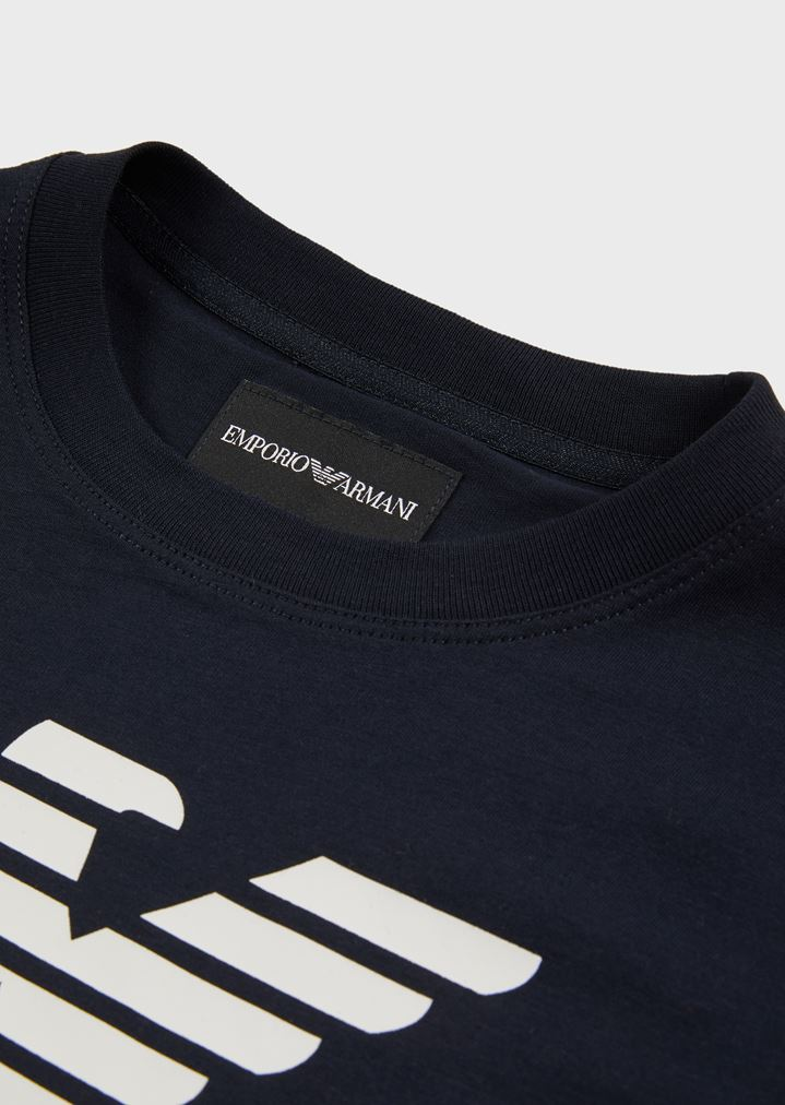 717ff1bb T-shirt in cotton jersey with large logo | Man | Emporio Armani