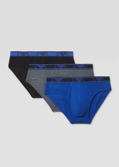 2245e0395471 Slips im 3er-Set aus Stretch-Baumwolle mit Monogramm am elastischen  Taillenbund
