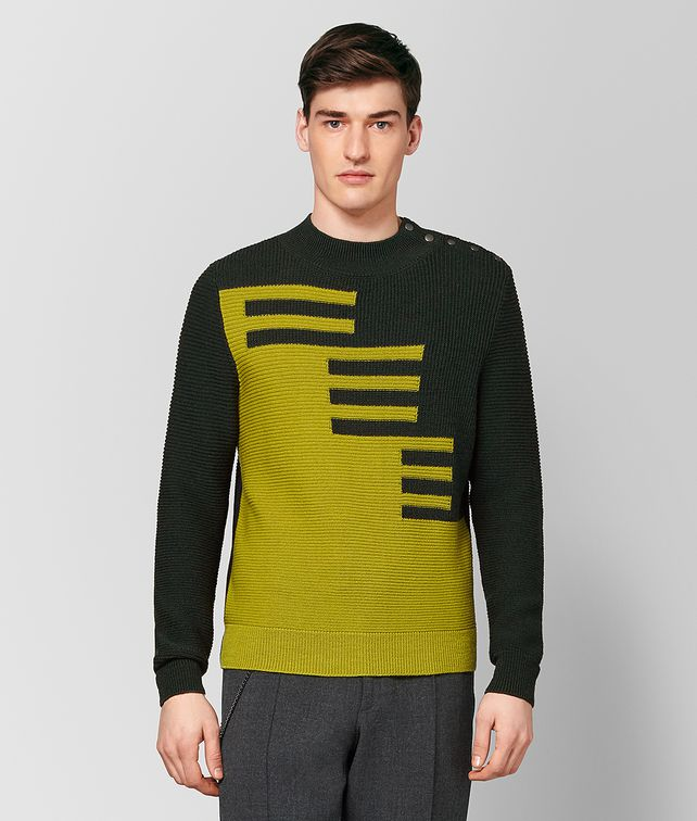 BOTTEGA VENETA DARK MOSS/CHAMOMILE WOOL SWEATER Knitwear [*** pickupInStoreShippingNotGuaranteed_info ***] fp