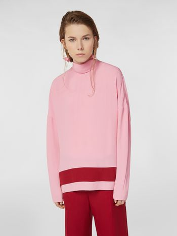 Marni Blouse in washed crepe with contrast band Woman