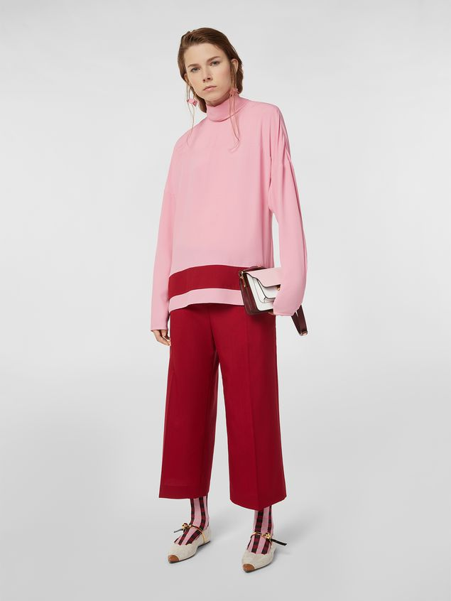 Marni Blouse in washed crepe with contrast band Woman - 5