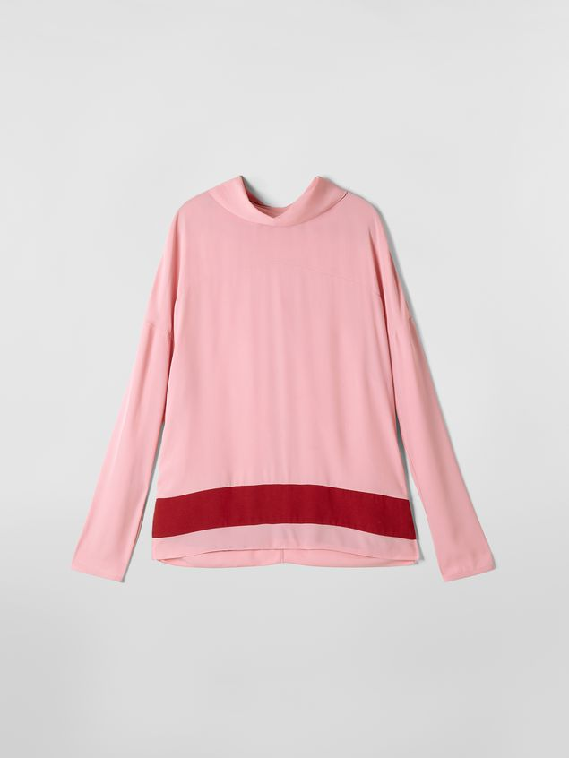 Marni Blouse in washed crepe with contrast band Woman - 2